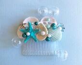 Blue Mermaid Comb-Sea Shell Comb-Teal Beach Bridal Comb-Beach Wedding Comb