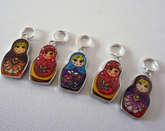 Russian Doll Set of 5 Handmade Stitch Markers