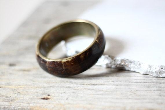 1970s brown shell bangle // cuff bracelet // vintage jewlery