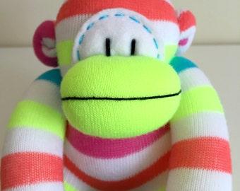 Bright Stripy Sock Monkey