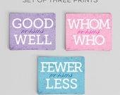 Typographic Print Grammar English Comparison Prints Set of Three 5x7s Great English Gift Teacher Gifts for Teachers English Gifts Gag Gift