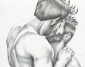 "PRINT of Original Art Work Pencil Drawing Gay Male Nude ""Kiss"""
