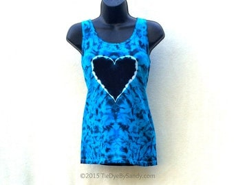 Juniors Large Tie Dye Tank Top/ Black and Blue Heart