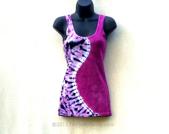 Juniors Small Tie Dye Tank Top/ Pink Curve