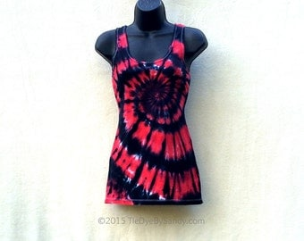 Juniors Large Tie Dye Tank Top/ Red and Black Spiral