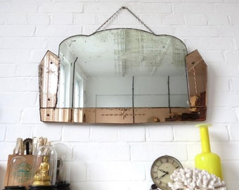 Art Deco Mirror with Bevelled Edge Engraved Colored Glass
