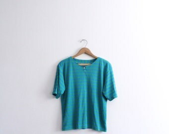 Blue Striped 90s Button Tee