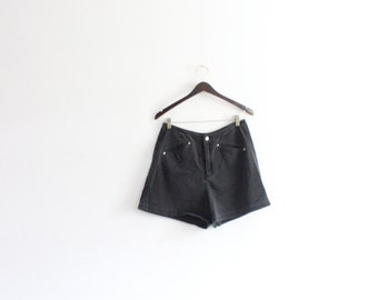 High Waisted Black 90s Denim Shorts