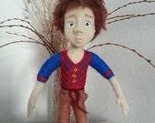 """Needle felted doll, OOAK doll miniature, Artist doll, wool doll, needle felted little boy - 11"""""""