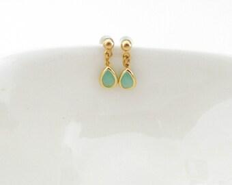 Blue Teardrop Earrings/ Light Blue Glass Earrings/ Glass Stone Earrings/ Blue Stone Earrings/ Gold And Blue Earrings- Sea World