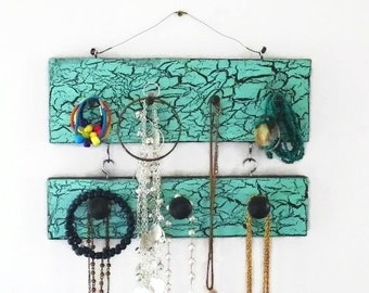 """Crackled 2-Tier Jewelry Holder & Organizer, 11.5"""" Long with 4 Pegs Plus  3 Knobs, Necklace Earring and Ring Hanger. Wall Mounted"""