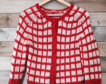 Vintage Checked Red and White Cardigan