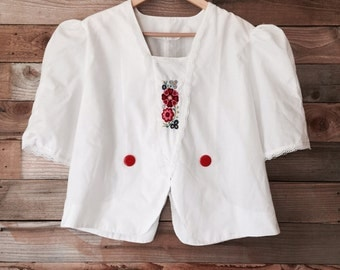 Retro Embroidered Summer Blouse with Puff Sleeves