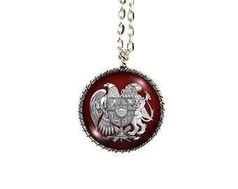Armenian Crest, Glass Dome, Armenia Crest Necklace, Armenian Jewelry, Armenian Crest Necklace, Armenian Pendant, Crest Necklace, Armenian