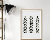 Black and White Leaves Painting Leaf Watercolor Hand Painted Original Leaf Painting Minimal Minimalist Scandinavian Artwork Modern Leaf Art