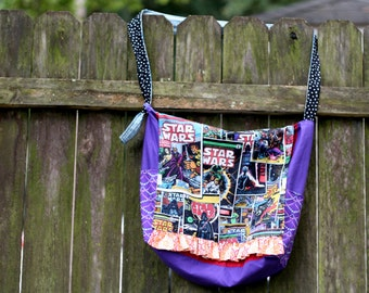 SALE Large STAR WARS Hippie Messenger Bag with Pockets, Purse, Carry All, Tote, Shoulder Bag, Cross-body, Boho, Bohemian, rts, ooak