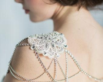 Silver Shoulder Necklace, Bridal Shoulder Jewelry, Shoulder Piece, Shoulder Necklace, Crystal Shoulder Chain, Lace Shoulder Piece, ADELAIDE
