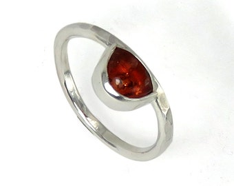 Half-Round Amber Repousse Sterling Silver Ring