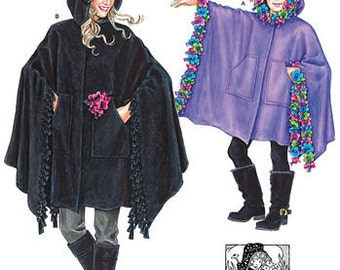 MOTHER and DAUGHTER Fleece Poncho Pattern by Simplicity *J0206 & 8081