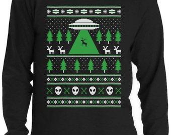 Alien Reindeer Abduction Ugly Christmas Sweater Men's Long Sleeve T-Shirt