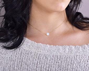 Opal Necklace, Moonstone Necklace, Dainty Choker, Beaded Necklace, Boho Jewelry, Gemstone Necklace, Dainty Necklace, Wedding Jewelry