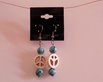 Unique Custom PEACE Turquoise Earrings - Handmade