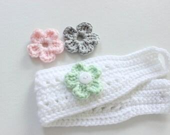 Baby Head Warmer with Interchangeable Flowers, Toddler, Child, Women's Head Warmer, /Ear Warmer - Crochet Head Warmer, Color Choice, Crochet