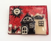 Vintage Red Glitter House Pin By Lucinda