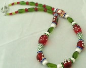 Holiday OOAK Christmas Red Green Beaded Necklace