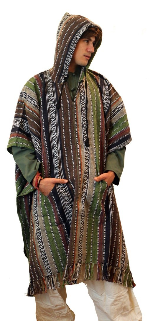 Knitting Pattern For Mens Poncho : Mens Knit Cotton Long Poncho - Hippie - Cozy - - Hood - Elf - Shawl