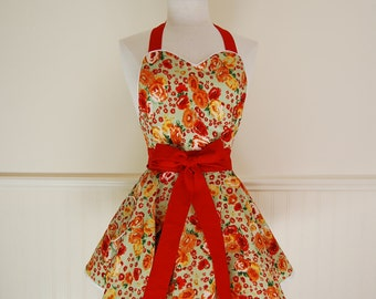 Green, Red and White Floral Circle Skirt Sweetheart Apron with Heart Pocket and Piping details