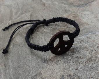 Peace Bracelet - Black Hemp Bracelet - Wooden Peace Sign Bracelet - Black Braided Bracelet - Peace Symbol Bracelet - Brown Peace Sign