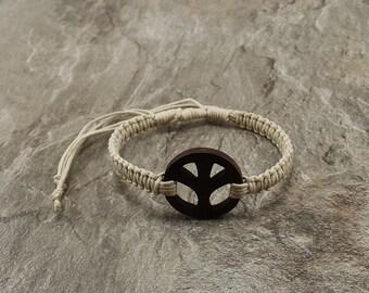 Peace Bracelet - White Hemp Bracelet - Wooden Peace Sign Bracelet - White Braided Bracelet - Peace Symbol Bracelet  - White Peace Bracelet