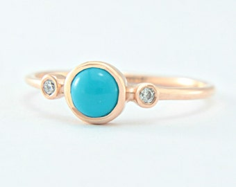 Turquoise and Diamond Rose Gold Ring 14k Yellow White Rose Gold Natural Turquoise Diamond Gold Ring in Your Size Turquoise Engagement Ring
