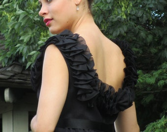 1970s Morty Sussman for Mollie Parnis Floor Length Black Evening Dress with Fabulous Ruffled Neckline