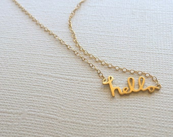 Hello Necklace in Sterling Silver (18k Yellow Gold Plating)