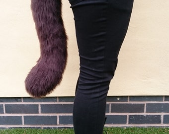 Brown Chunky Cat Tail Cute Cosplay Fursuit Furry Costume