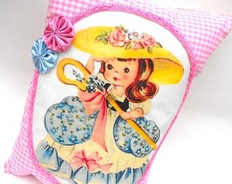 Little Bo Peep Pillow Handmade Decorative Little Girl's Room Decor Baby Nursery Rhyme Pink White Gingham Cushion Hand-Sewn Rosettes & Pocket