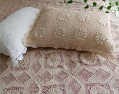 Hand Crochet Pillow Shams, Pair of Cotton Handmade Pillow Cases, Pillow Covers, Light Beige, Standard Size, PC007