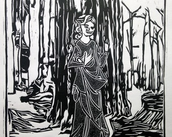 Hela Norse Mythology Relief Print, Vikings, Loki, Folkore, Scandinavian, Hell, Underworld, Knotwork, Traditional, Folk Art, Wall Decor