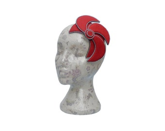 Cherry Red & Silver Fascinator - Zip and Felt