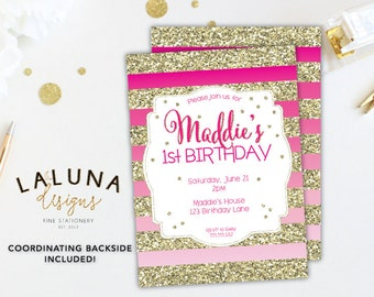 Pink And Gold Birthday Invitation, First Birthday, Pink Ombre Invitation, Gold Glitter Stripes Invitation, Girl Birthday Invitation