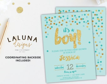 It's a Boy Baby Shower Invitation, Blue and Gold Baby Shower Invites, Baby Boy Shower Invitation, Gold Glitter Baby Shower, Gold Foil
