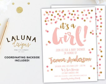 Pink And Gold Baby Shower Invitation, It's a Girl, Baby Shower Invites, Baby Shower Invitation Girl, Gold Glitter Baby Shower