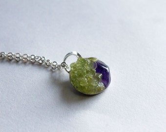 Amethyst Peridot necklace green and purple necklace sterling silver necklace simple elegant necklace gift for her Delicate necklace