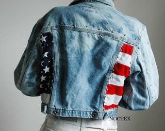 Americana Cropped Acid Wash Denim Jacket 90 s