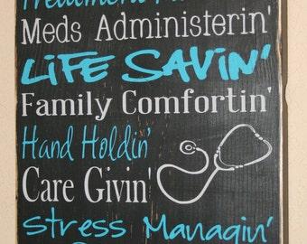 Nurse Sign, Nurse Decor, Nurse Gift, Nursing Profession Sign, Wood Sign, Nurse Wall Sign, RN Sign, RN Gift, LPN Sign  - Proud To Be A Nurse