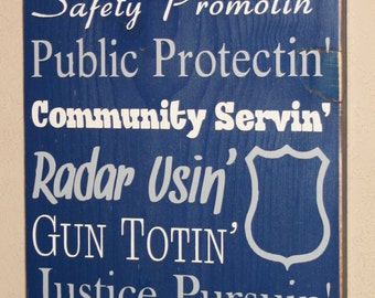 """LEO Sign, Police Sign, Police Officer Gift, Police Decor, Distressed Wood Sign, Thin Blue Line, LEO Decor - Proud To Be A Police Officer 24"""""""