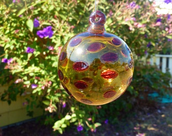 Handblown Amber Glass Ornament with Red Polka Dots