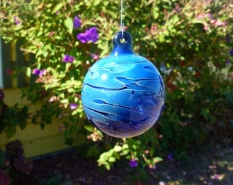 Handblown Cobalt Blue Glass Ornament with Freeform Squiggles